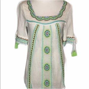 NWT LeTarte Cotton Embroidered Blouse small